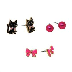 Pink Poppy Kittens & Bows Earring | Set of 3
