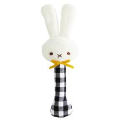 Alimrose Bunny Stick Rattle Black Gingham