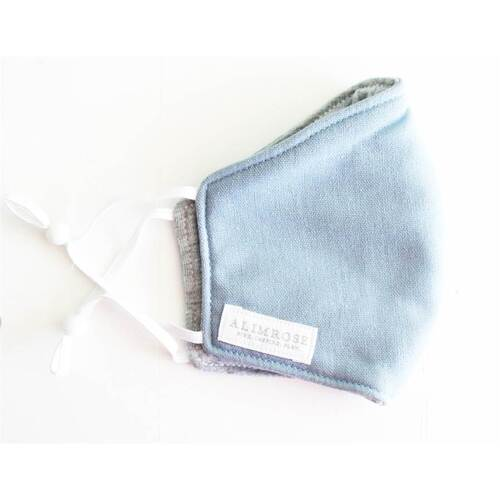 Alimrose Youth 3 Layer Face Mask | Blue Grey Linen